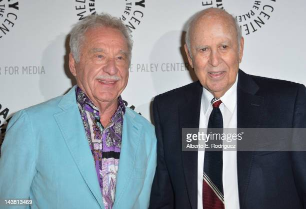 Musician Doc Severinsen and comedian Carl Reiner attend a screening of the PBS documentary American Masters Johnny Carson King of Late Night at The...