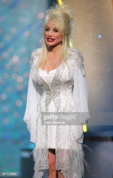Musician Dolly Parton appears on stage at the 38th Annual CMA Awards at the Grand Ole Opry House November 9 2004 in Nashville Tennessee