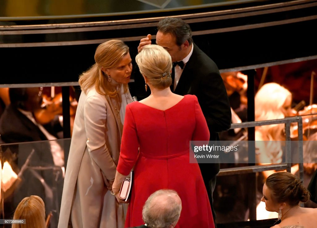Musician Dominique Lemonnier, actor Meryl Streep and composer Alexandre Desplat attend the 90th Annual Academy Awards at the Dolby Theatre at Hollywood & Highland Center on March 4, 2018 in Hollywood, California.