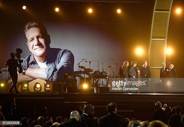 Musician Don Henley of the Eagles accepts the band's 1977 Record of the Year award for 'Hotel California' onstage from National Academy of Recording...