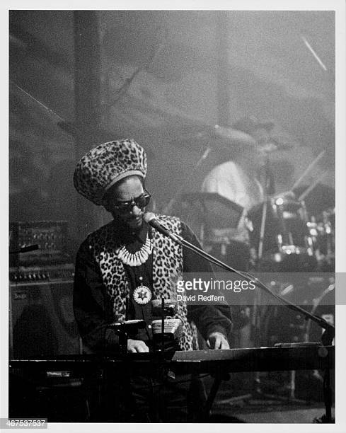 Musician Don Letts, with the band Big Audio Dynamite, on stage, circa 1985-1990.