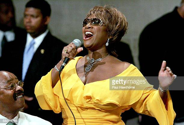 Musician Donnie Harper and singer Patti Labelle perform during the funeral of Luther Vandross at Riverside Church July 8 2005 in New York City