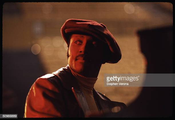 Musician Donny Hathaway sits at a piano on the stage of Royce Hall in UCLA with an empty audience during the rehearsal for Roberta Flack's Musical TV...