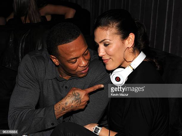 Musician Dr Dre and wife Nicole Young attend The Interscope Geffen AM and Beats By Dre Grammy Party at Thom Thom Club on January 31 2010 in Santa...