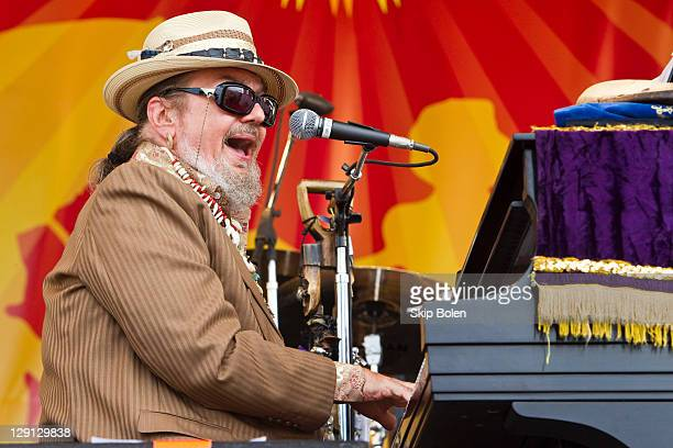 Musician Dr. John performs during day 3 of the 2011 New Orleans Jazz & Heritage Festival at the Fair Grounds Race Course on May 1, 2011 in New...