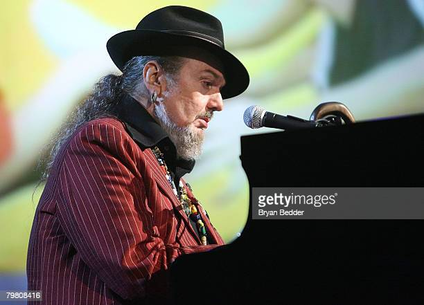 Musician Dr John performs during NBA AllStar Saturday Night part of 2008 NBA AllStar Weekend at the New Orleans Arena on February 16 2008 in New...
