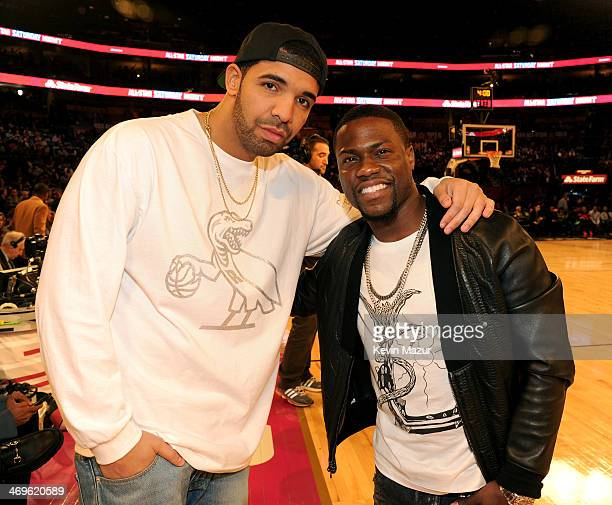 Musician Drake and Comedian Kevin Hart attend the State Farm AllStar Saturday Night during the NBA AllStar Weekend 2014 at The Smoothie King Center...