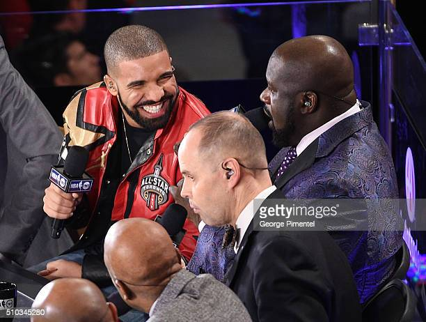 Musician Drake and former NBA player Shaquille O'Neal attend the 2016 NBA AllStar Game at Air Canada Centre on February 14 2016 in Toronto Canada