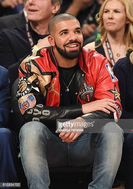 Musician Drake attends the 2016 NBA AllStar Game at Air Canada Centre on February 14 2016 in Toronto Canada