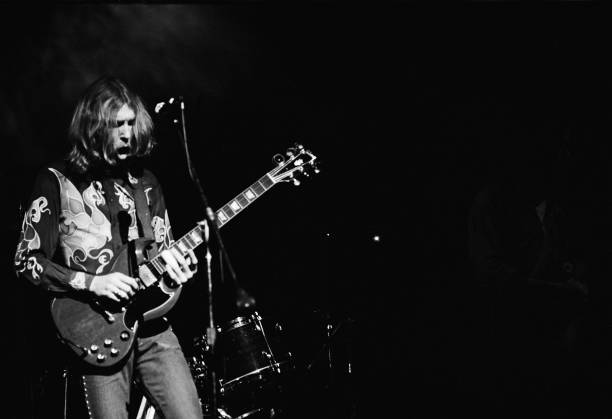 Musician Duane Allman of American rock group The Allman Brothers Band performs at the last night at Fillmore East, a nightclub on Second Avenue, New...