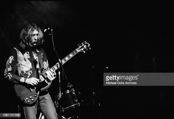 Musician Duane Allman of American rock group The Allman Brothers Band performs at the last night at Fillmore East a nightclub on Second Avenue New...