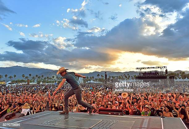Musician Dustin Lynch performs onstage during 2016 Stagecoach California's Country Music Festival at Empire Polo Club on May 01 2016 in Indio...