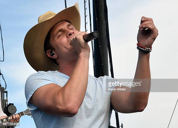 Musician Dustin Lynch performs onstage during day 3 of 2014 Stagecoach California's Country Music Festival at the Empire Polo Club on April 27 2014...