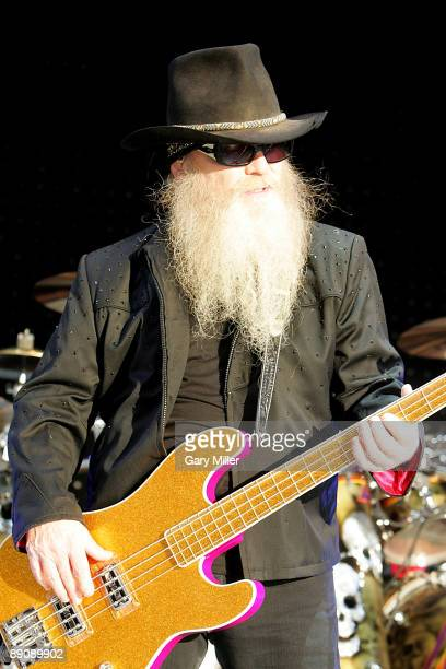 Musician Dusty Hill of ZZ Top performs in concert at The Cynthia Woods Mitchell Pavilion on July 17 2009 in The Woodlands Texas
