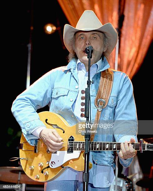 Musician Dwight Yoakam performs onstage during the Annenberg Foundation and KCRW's 'Sound In Focus' Concert Series with Dwight Yoakam and X at...