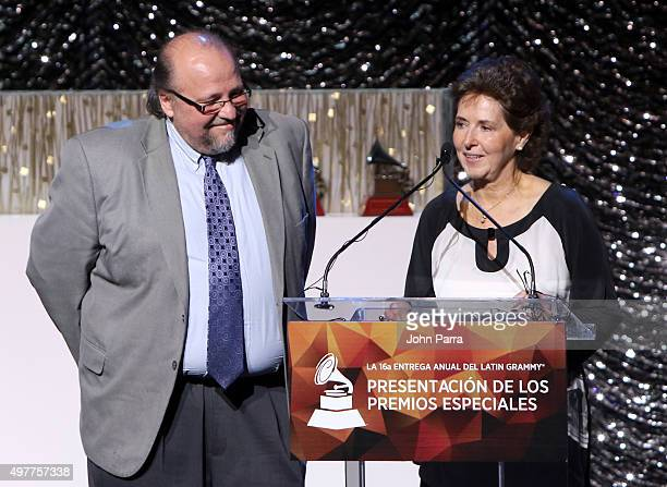 Musician Ed Calle and María Cristina García Cepeda onstage at the 2015 Latin Recording Academy Special Awards during the 16th Latin GRAMMY Awards at...