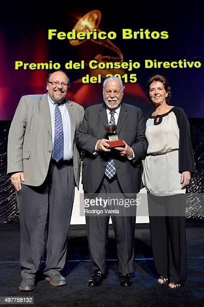Musician Ed Calle Lifetime Achievement recipient Federico Britos and María Cristina García Cepeda onstage at the 2015 Latin Recording Academy Special...