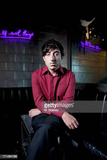 Musician Ed Droste is photographed for Out Magazine on August 21 2012 at the Electric Room in the Dream Downtown Hotel in New York City