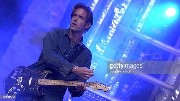 Musician Ed O''Brien from the band Radiohead performs onstage June 29 2001 at the Santa Barbara Bowl CA