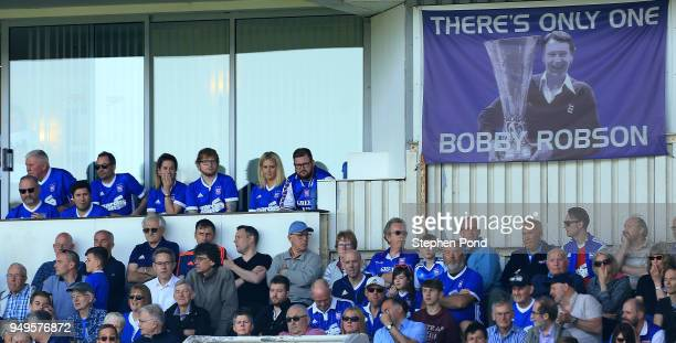 Musician Ed Sheeran and fiance Cherry Seaborn look on during the Sky Bet Championship match between Ipswich Town and Aston Villa at Portman Road on...