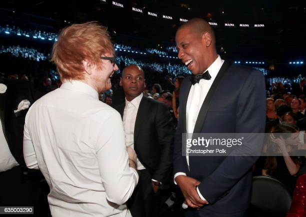 Musician Ed Sheeran and hip hop artist JayZ during The 59th GRAMMY Awards at STAPLES Center on February 12 2017 in Los Angeles California