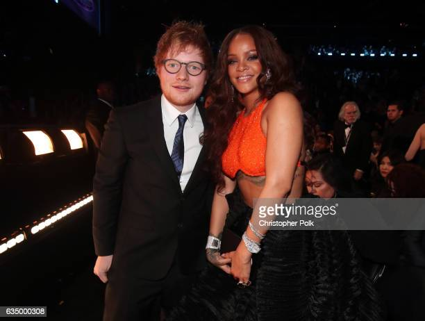Musician Ed Sheeran and singer Rihanna during The 59th GRAMMY Awards at STAPLES Center on February 12 2017 in Los Angeles California