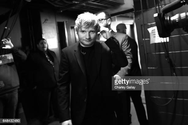 Musician Ed Sheeran backstage at the 2017 iHeartRadio Music Awards which broadcast live on Turner's TBS TNT and truTV at The Forum on March 5 2017 in...