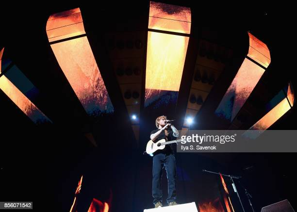 Musician Ed Sheeran performs on stage at Barclays Center of Brooklyn on September 30 2017 in New York City