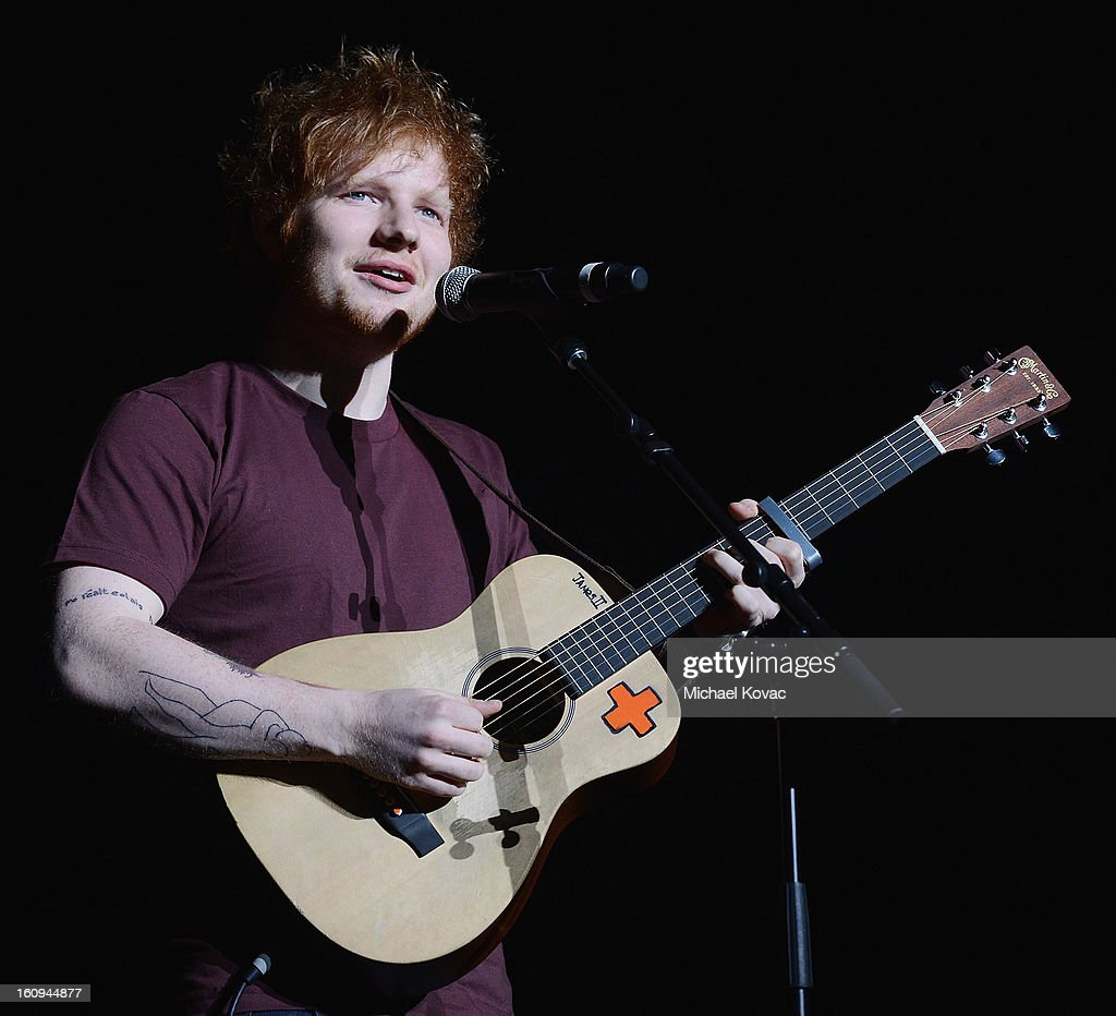 Musician Ed Sheeran performs onstage at the Music Preservation Project 'Play It Forward' on February 7, 2013 in Los Angeles, California.