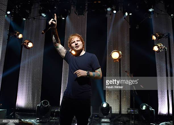 Musician Ed Sheeran performs onstage during the iHeartRadio Album Release Party with Ed Sheeran hosted by Mario Lopez and presented by Pepsi at the...