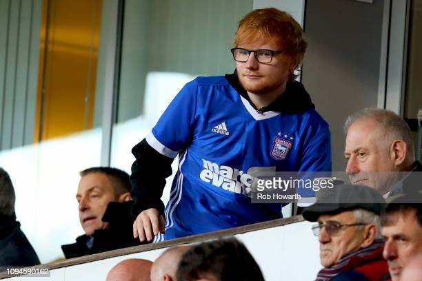 Musician Ed Sheeran watches his team, Ipswich Town during the Sky Bet Championship match between Ipswich Town and Sheffield United at Portman Road on...