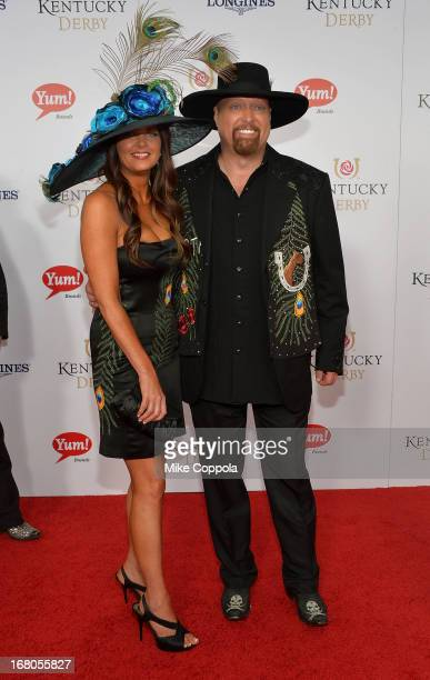 Musician Eddie Montgomery and Jennifer Belcher celebrate the 139th Kentucky Derby with Moet Chandon at Churchill Downs on May 4 2013 in Louisville...