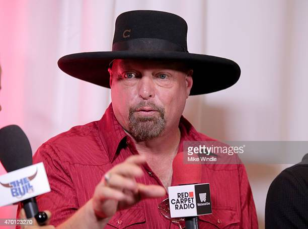 Musician Eddie Montgomery of Montgomery Gentry speaks at the Red Carpet Radio presented by Westwood One Radio during the 50th Academy Of Country...