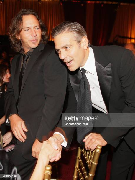 Musician Eddie Vedder and Actor George Clooney inside at the 13th ANNUAL CRITICS' CHOICE AWARDS at the Santa Monica Civic Auditorium on January 7,...