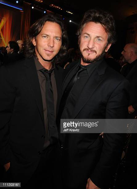 Musician Eddie Vedder and Actor Sean Penn onstage at the 13th ANNUAL CRITICS' CHOICE AWARDS at the Santa Monica Civic Auditorium on January 7 2008 in...