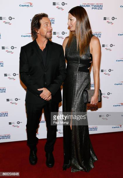 Musician Eddie Vedder and his wife Jill McCormick arrive to the 2017 Mark Twain Prize for American Humor at The Kennedy Center on October 22 2017 in...
