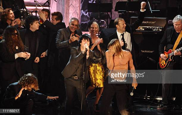 Musician Eddie Vedder Billie Joe Armstrong and Iggy Pop of Iggy The Stooges perform onstage with guest at the 25th Annual Rock and Roll Hall of Fame...