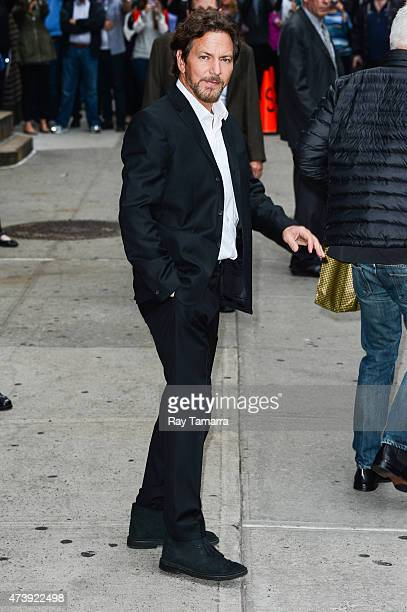 Musician Eddie Vedder leaves the Late Show With David Letterman taping at the Ed Sullivan Theater on May 18 2015 in New York City