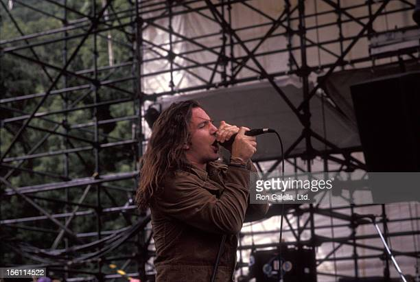 Musician Eddie Vedder of Pearl Jam performs at Lollapalooza 2 Music Festival on August 12 1992 at Waterloo Village in Stanhope New Jersey