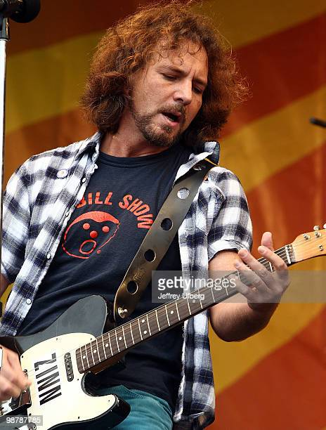 Musician Eddie Vedder of Pearl Jam performs during day 6 of the 41st annual New Orleans Jazz Heritage Festival at the Fair Grounds Race Course on May...