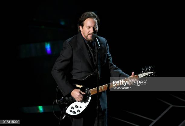 Musician Eddie Vedder performs onstage during the 90th Annual Academy Awards at the Dolby Theatre at Hollywood Highland Center on March 4 2018 in...