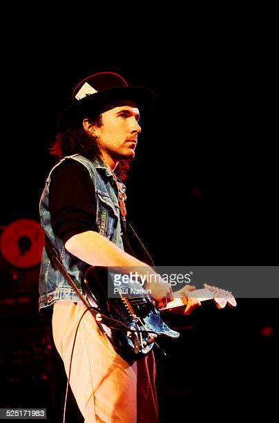 Musician Edge of U2 performs on stage during a concert at the University of Illinois Chicago Pavilion Chicago Illinois March 20 1985