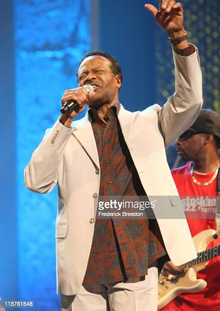 Musician Edwin Hawkins rehearses onstage at the 40th Annual GMA Dove Awards held at the Grand Ole Opry House on April 23 2009 in Nashville Tennessee