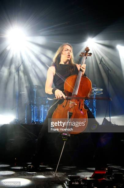 Musician Eicca Toppinen from Apocalyptica performs live during a concert at the CHalle on October 24 2010 in Berlin Germany