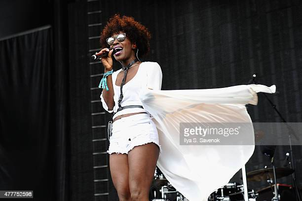 Musician Elisabeth Troy performs with Clean Bandit onstage during day 2 of the Firefly Music Festival on June 19, 2015 in Dover, Delaware.