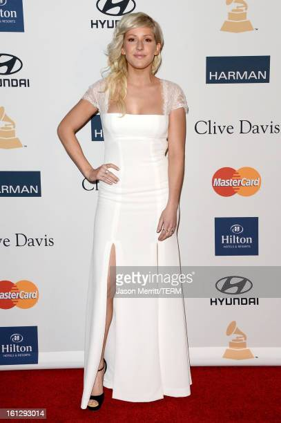 Musician Ellie Goulding arrives at Clive Davis The Recording Academy's 2013 PreGRAMMY Gala and Salute to Industry Icons honoring Antonio LA Reid at...