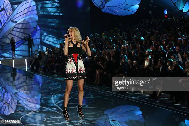 Musician Ellie Goulding performs during the 2015 Victoria's Secret Fashion Show at Lexington Avenue Armory on November 10 2015 in New York City