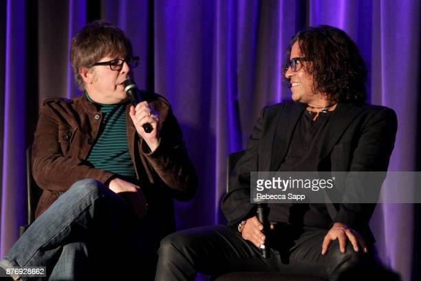 Musician Elliot Easton and executive producer Stevie Salas speak onstage at Reel to Reel Rumble The Indians Who Rocked The World Featuring a...