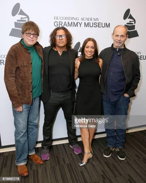 Musician Elliot Easton executive producer Stevie Salas executive producer Christina Fon and musician Wayne Kramer attend Reel to Reel Rumble The...
