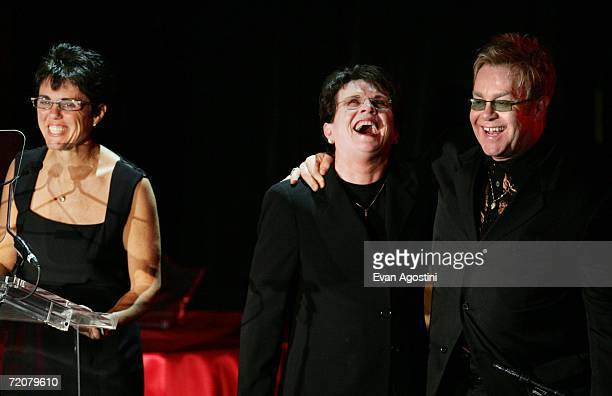Musician Elton John and Billie Jean King listen to honoree Ilana Kloss speak on stage at An Enduring Vision the fifth annual benefit for The Elton...